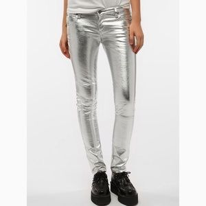 Tripp NYC Metallic Faux Leather Skinny Pants sz 0